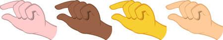 Vector illustration of emoticons of hands making a quantity gesture Ilustração Vetorial