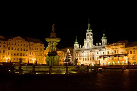 budejovice: samson fountain in the czech budejovice