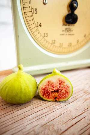 Vintage scale and figs still life