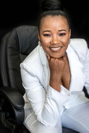 Black African female beauty wearing a white suit Zdjęcie Seryjne