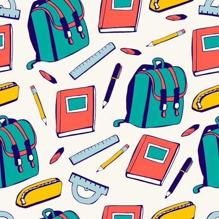 utiles escolares: suministros patrón inconsútil de la escuela. Vectores