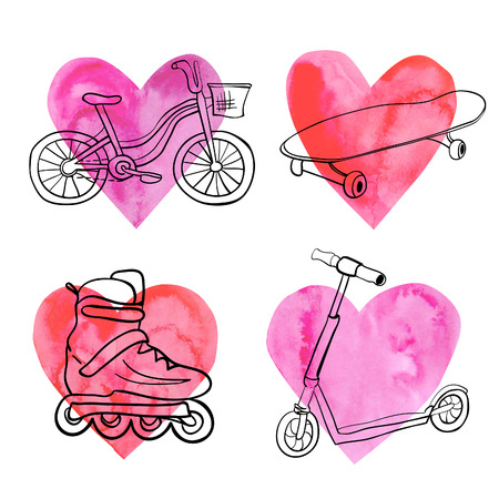 summer sport: set of summer sport equipment on bright pink and red hearts. Doodles of bicycle, skateboard, scooter and roller skate. Black outlines and hand drawn watercolor background. Illustration