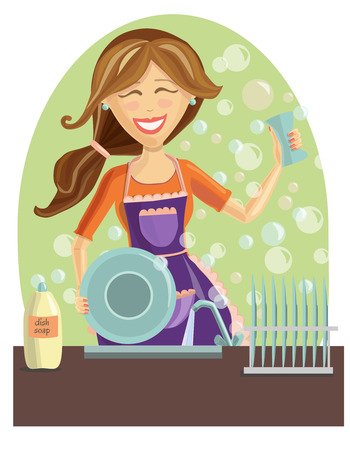 dish: illustration of a happy beautiful woman washing dishes on the kitchen. Cute smiling girl with long brown hair. Plates, foam bubbles, dish soap, faucet and other elements on green background.