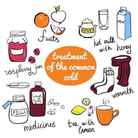 cold remedy: doodle elements Treatment of the common cold. Collection of colorful freehand drawn isolated objects.