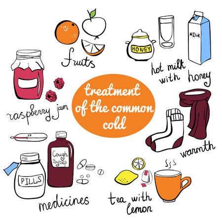 resfriado comun: Elementos del doodle de tratamiento del resfriado com�n. Colecci�n de coloridos dibujado a mano alzada objetos aislados.