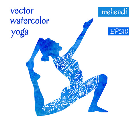 girl pose: Vector silhouette of yoga woman with bright blue watercolor texture and white ethnic ornament. Illustration