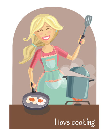 house wife: illustration of a happy beautiful woman cooking tasty dinner on the kitchen. Cute smiling girl with long blonde hair, pots and pans. I love cooking inscription. Illustration