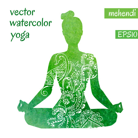 etnic: silhouette of yoga woman with bright green watercolor texture and white ethnic ornament.
