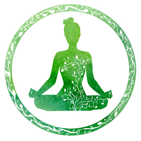 position: silhouette of yoga woman in circle frame with bright green watercolor texture and floral ornament.