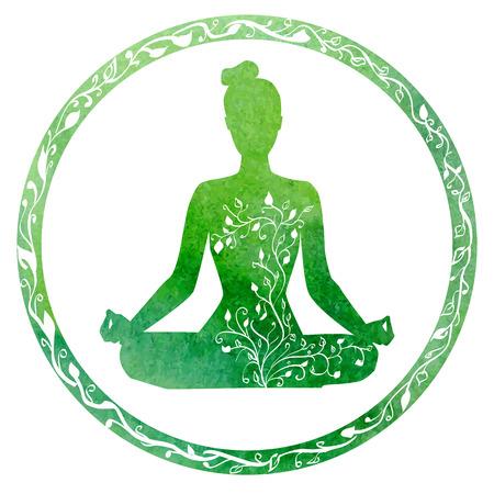 mujer meditando: silueta de mujer de yoga en el marco del círculo con brillante textura de acuarela verde y adornos florales.