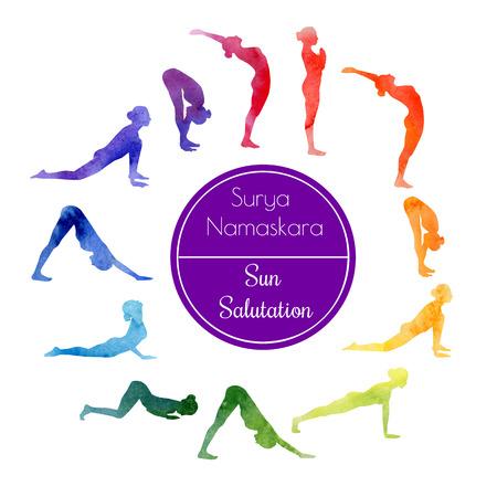imagen: ejemplo de la acuarela de ejercicio de yoga