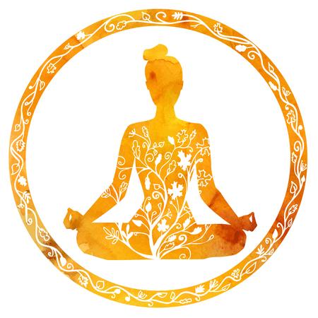Vector silueta de mujer de yoga en el marco del círculo con textura brillante de color naranja y adornos florales. Los colores del otoño y árbol de hojas de decoración. Actitud del loto - Padmasana.