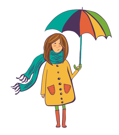 Vector illustration of a pretty girl in a cute yellow coat with bright colorful umbrella on white background. Cute isolated girl drawn in doodle style with violet outline and bright colors.