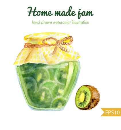 Vector watercolor illustration of a jar of home made kiwi jam with checked fabric and decorative rope. Hand drawn isolated food object on white background. Sweet tasty dessert.