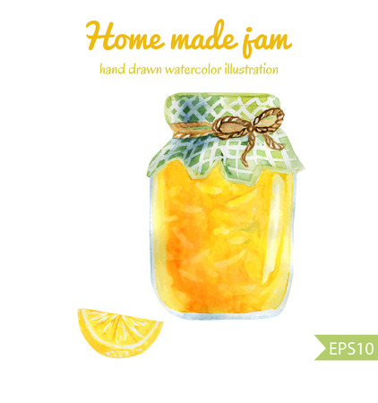 home products: Vector watercolor illustration of a jar of home made lemon jam with checked fabric and decorative rope. Sweet tasty dessert.