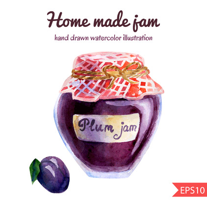 confiture: Vector watercolor illustration of a jar of home made plum jam with checked fabric, decorative rope and a ripe plum. Sweet tasty dessert.