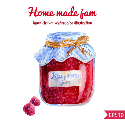 checked fabric: Vector watercolor illustration of a jar of home made raspberry jam with checked fabric and decorative rope. Sweet tasty dessert.