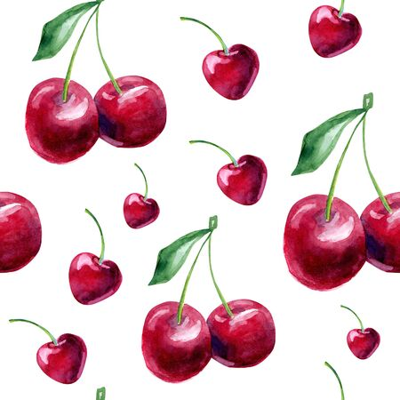 claret: Beautiful vector seamless pattern with natural fresh cherries. Bright red, claret and green hand drawn watercolor elements on white background. Illustration