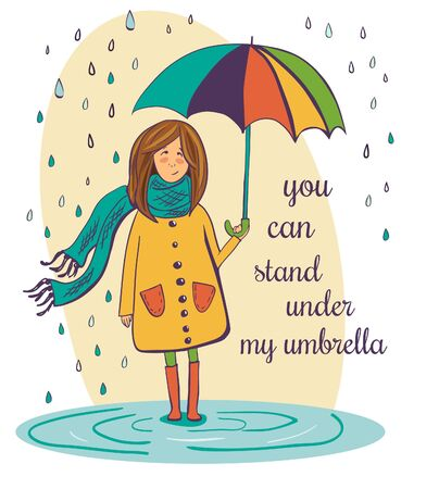 rain coat: Vector illustration of a pretty girl in a cute yellow coat with bright colorful umbrella. Young woman standing in a puddle under the rain drops. Cute image with place for your text or message.