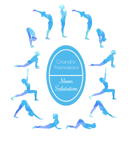 salutation: Vector illustration of yoga exercise Moon Salutation Chandra Namaskara. Bright colorful silhouettes of slim women in different yoga positions in blue colors.