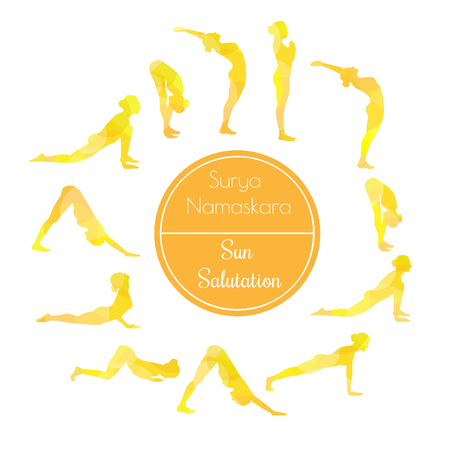 salutation: Vector illustration of yoga exercise Sun Salutation Surya Namaskara. Bright colorful silhouettes of slim women in different yoga positions in yellow dyes.