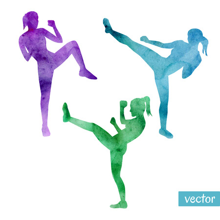 Set of vector illustrations of kickboxing women. Bright silhouettes of slim girls doing kicks. Illustration
