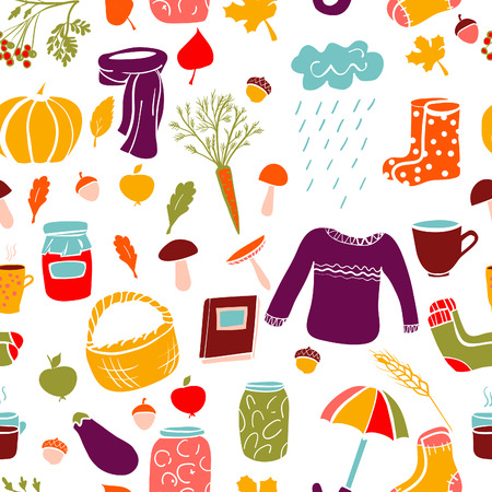 gum boots: Vector seamless pattern with bright colorful doodle autumn attributes. Illustration