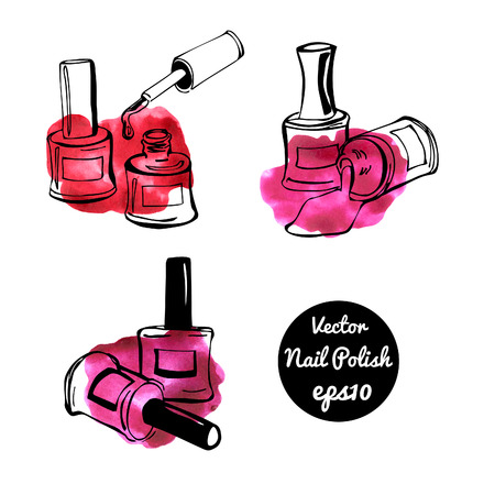 enamel: Set of vector illustrations of nail polish. Hand drawn doodle sketches of bottles with enamel. Black outlines and bright colorful stains. Stock Photo