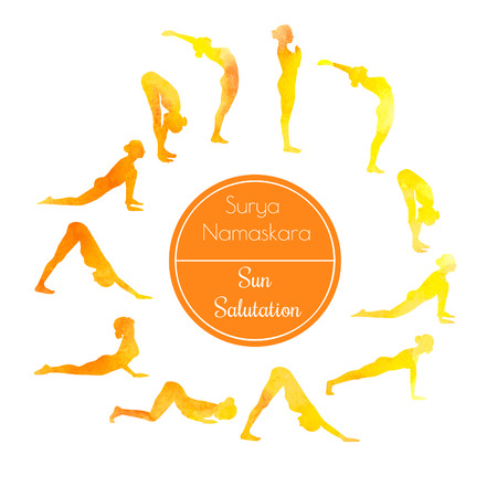 Vector watercolor illustration of yoga exercise Sun Salutation Surya Namaskara. Bright colorful silhouettes of slim women in different yoga positions in rainbow dyes.
