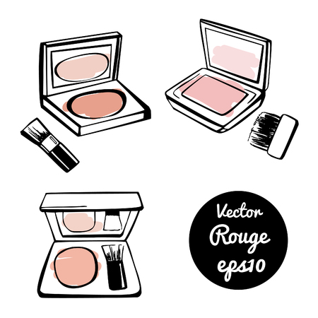 blush: Set of vector illustrations of boxes with face rouge. Hand drawn doodle sketches of powder blush. Black outlines and colorful stains.