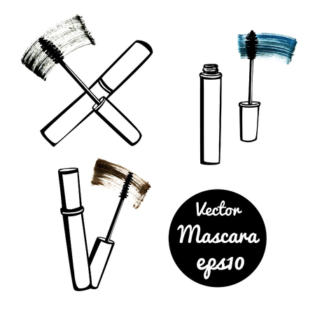 black makeup: Set of vector illustrations of three bottles with mascara. Hand drawn doodle sketches. Black outlines and bright colorful stains. Illustration