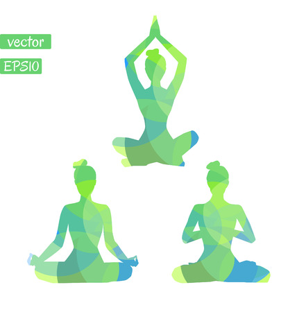Set of vector silhouettes of yoga women with bright green and blue texture. Meditation in lotus position.
