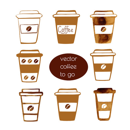 cups of coffee: Set of vector hand drawn illustration of take away coffee cups. Coffee theme.