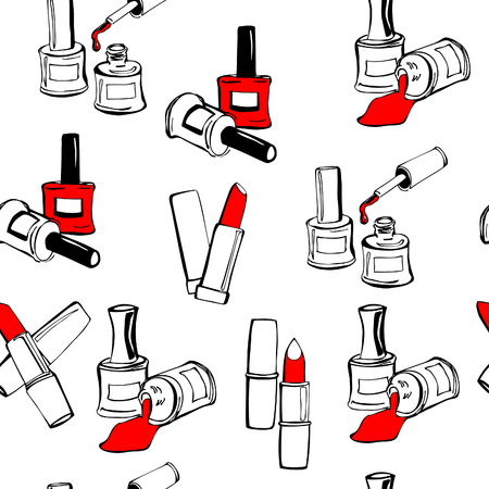 nails: Vector seamless pattern with nail polish bottles and lipsticks on white background. Illustration
