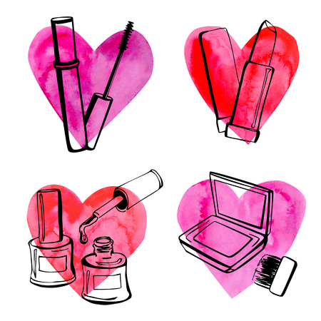 cosmetics background: Set of vector illustrations of different cosmetics on bright colorful hearts. Black sketchy outlines on pink paper textured background.