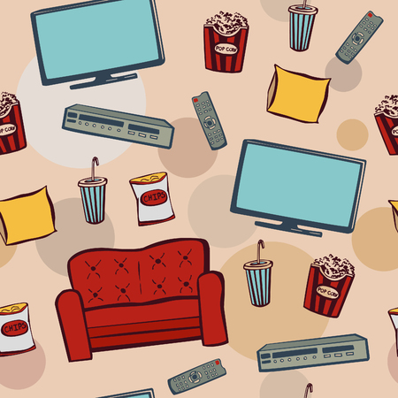 objects equipment: Vector seamless pattern with doodle elements Home cinema theater. Hand drawn sketchy snacks, tv equipment, sofa, dvd and other objects on light beige background with colorful circles.
