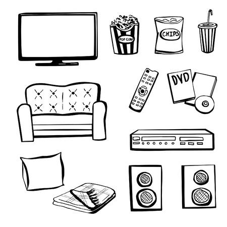 dvd room: Set of hand drawn doodle sketches TV set. Home cinema.