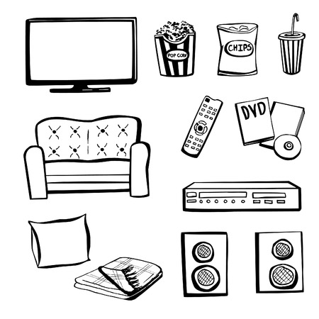 Set of hand drawn doodle sketches TV set. Home cinema.