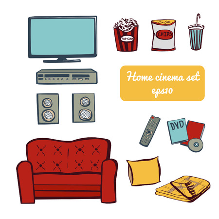 objects equipment: Set of vector doodle elements Home cinema theater. Hand drawn sketchy snacks, tv equipment, sofa, dvd. Isolated objects on white background. Illustration
