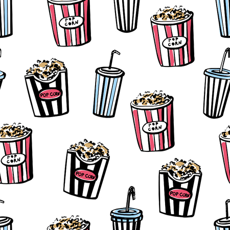 tubules: Vector seamless pattern Cinema snacks. Hand drawn doodles of pop corn boxes and soda cups with tubules. Black sketchy elements with beige, red and blue stains on white background.