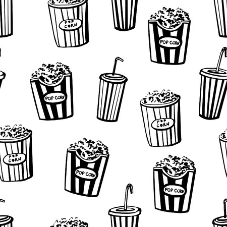 strips away: Vector seamless pattern Cinema snacks. Hand drawn doodles of pop corn boxes and soda cups with tubules. Black sketchy elements with beige, red and blue stains on white background.