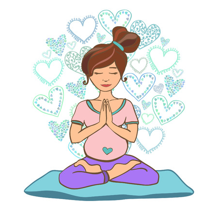 Vector illustration of a pretty pregnant woman doing yoga on a yoga mat. Lotus pose and namaste hands. Prenatal yoga. Isolated character on white background.