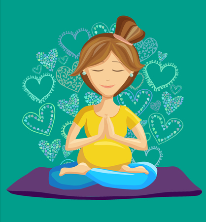 namaste: Vector illustration of a pretty pregnant woman doing yoga on a yoga mat. Lotus pose and namaste hands. Prenatal yoga. Character on green background with colorful doodle hearts in circle shape. Illustration