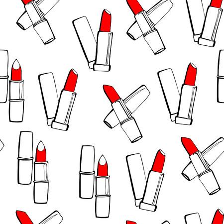 l�piz labial: Modelo incons�til del vector con los l�pices labiales. Negro esboza con manchas de color rojo brillante en el fondo blanco. Vectores