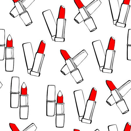 Vector seamless pattern with lipsticks. Black outlines with bright red stains on white background. Reklamní fotografie - 48282102