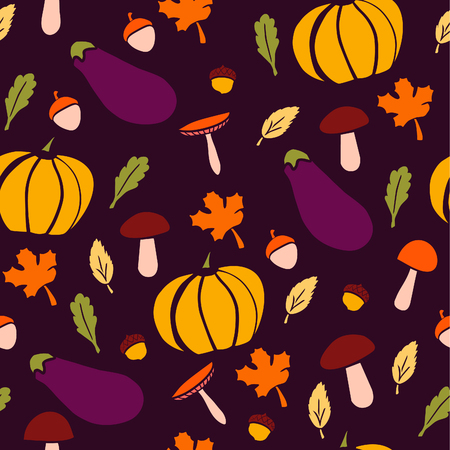 Cute vector seamless pattern with pumpkins, mushrooms, aubergines, acorns and tree leaves. Bright colorful doodle objects on dark background. Illustration
