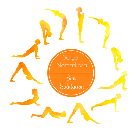 salutation: Vector illustration of yoga exercise Sun Salutation Surya Namaskara. Bright colorful silhouettes of slim women in different yoga positions in yellow and orange dyes.