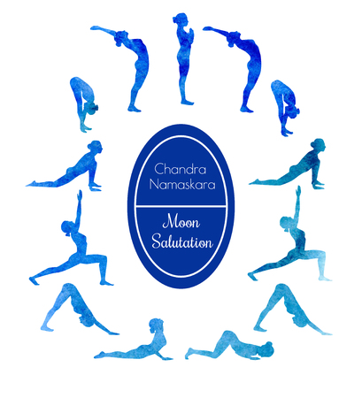 salutation: Vector watercolor illustration of yoga exercise Moon Salutation Chandra Namaskara. Bright colorful silhouettes of slim women in different yoga positions in blue dyes.