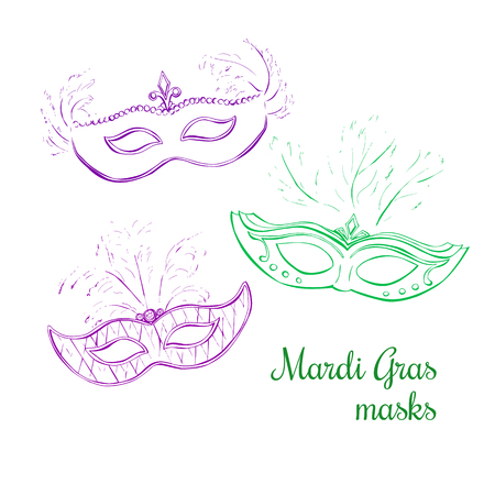 carnivale: Set of vector illustrations of three carnivale masks. Hand drawn doodle objects isolated on white background. Mardi Gras masks with feathers in violet, green and pink colors.