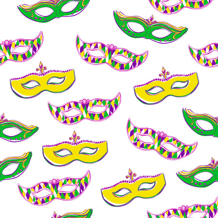 green face: Vector seamless pattern with colorful Mardi Gras face masks on white background for your design. Cute background in green, pink, violet and yellow colors. Hand drawn doodle elements on white.